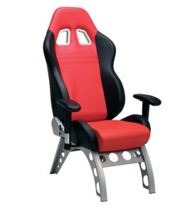 Black on Red GT Leather Receiver Chair